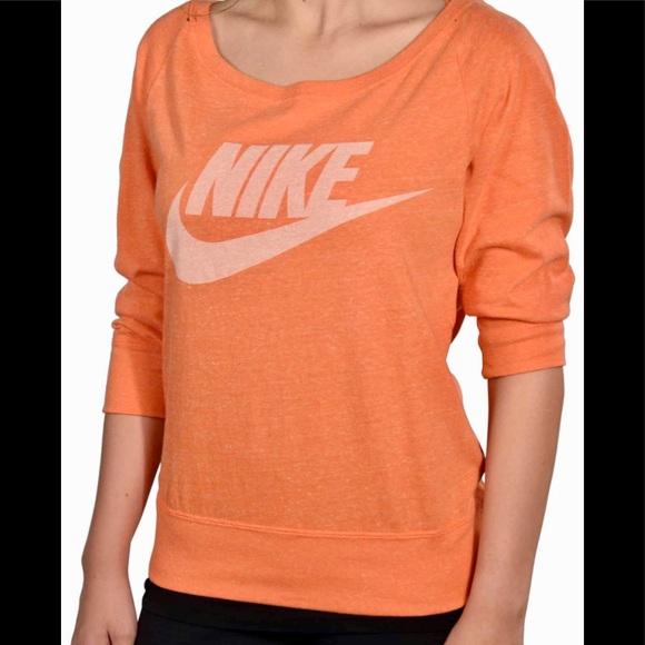 Nike Women's Gym Vintage Crew Top in Orange